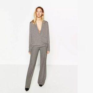 Zara Gray Crossover Deep Plunge Knit Sweater M